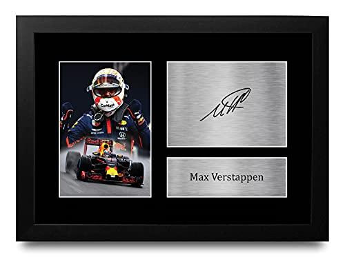 HWC Trading FR A4 MAX Verstappen Formula 1 Los Regalos Imprimieron La Imagen Firmada del Autógrafo para Los Fanáticos De Las Carreras De La Fórmula 1 De F1 - A4 Framed