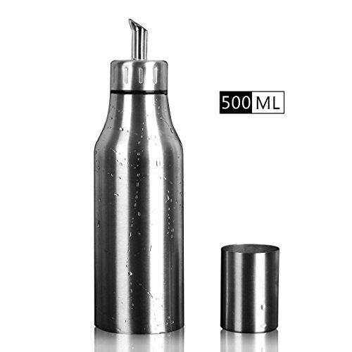 PER-HOME Olive Oil Dispenser 17 Oz Stainless Steel Leakproof Cooking Oil Bottle for Kitchen.