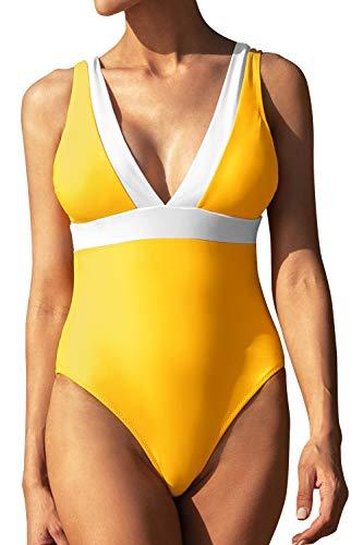 CUPSHE Women's One Piece Swimsuit Monokini Color Block V Neck Low Back Bathing Suit, M