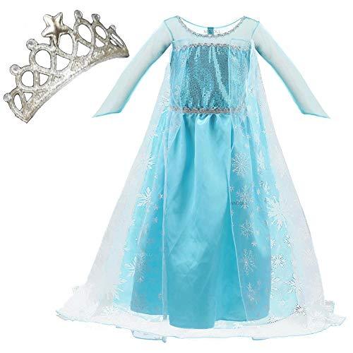 NNDOLL Elsa Vestito Bambina Costumi Carnevale Principessa Azzurro Abito(110/2-3 Anni)