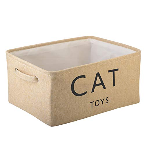 Pethiy Canvas cat toy box Basket storage cat hamper kitten toys for indoor cats- 40cms (16in) x 30cms (12in) x 20cms (8in) - Beige-CAT