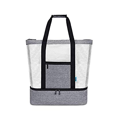 LOKASS Mesh Beach Bag With Insulated Picnic Cooler Toy Tote Bag Large Capacity 30L/125lbs Durable Grocery Storage Net Bag for Beach, Picnic