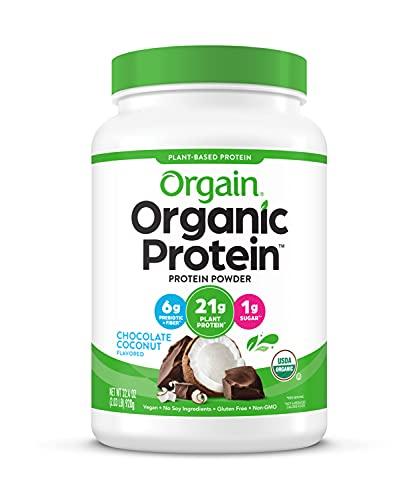 Orgain Organic Plant Based Protein Powder, Chocolate Coconut - Vegan, Low Net Carbs, Non Dairy, Gluten Free, Lactose Free, No Sugar Added, Soy Free, Kosher, Non-GMO, 2.03 Pound
