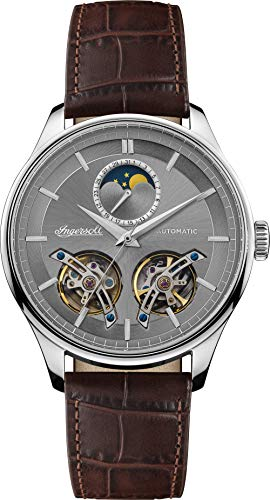 Ingersoll The Chord Mens Automatic Watch I07201 with a Grey Dial and a Brown Genuine Leather band