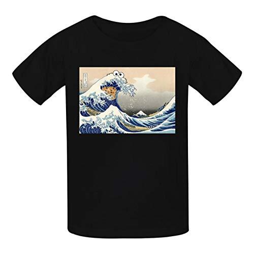 Coo-kie Monster-Wave - Camiseta de algodón con cuello redondo para niños y niñas