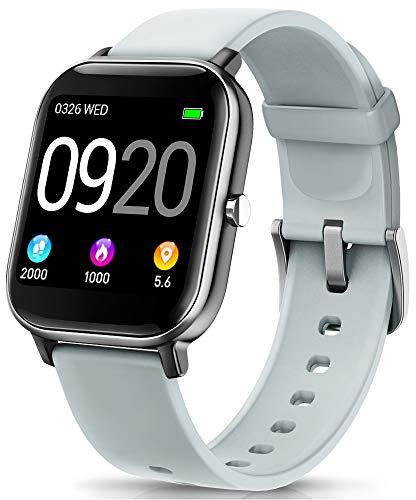 """NAIXUES Smartwatch, Reloj Inteligente Impermeable IP67 Reloj Deportivo 1.4"""" Pantalla Táctil Completa con Pulsómetro, Monitor de Sueño, Podómetro, Notificaciones para Mujer Hombre (Gris)"""