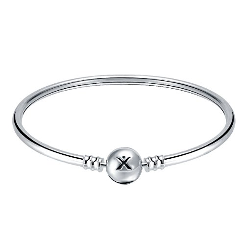Changeable 925 Sterling Silver Women Charms Bracelet (Smooth Bangle) 19CM