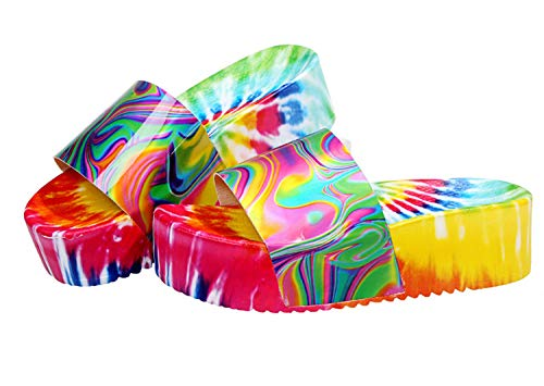 HYISHION Womens Platform Sandals Summer, Wedge Heel Flip Flops Casual High Slip On Open Toe Shoes, Fashion Soft Slip Sexy Sandals,Green,EU39