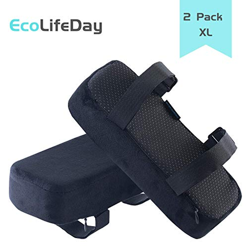 EcoLifeDay Chair armrest Pads Foam Elbow Pillow Pressure Relief armrest Pads 2-Piece Set of Office Chair armrest Best Furniture Accessories Memory Foam (X-Large)