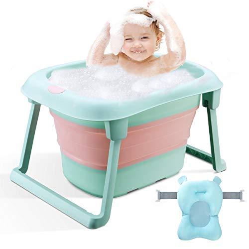3-in-1Baby-Badewanne Tragbar Kleinkind Faltbare Badewanne Säuglinge Duschbecken Rutschfest für 0-10 Jahre (Grün(Wanne+Kissen))