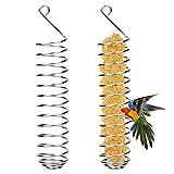 2 Piezas Pájaro Porta Fruta Colgante, Comedero para Pájaros de Frutas Acero Inoxidable, Alimentador Pájaros Brochetas de Frutas en Espiral para Loros Periquitos Cacatúas