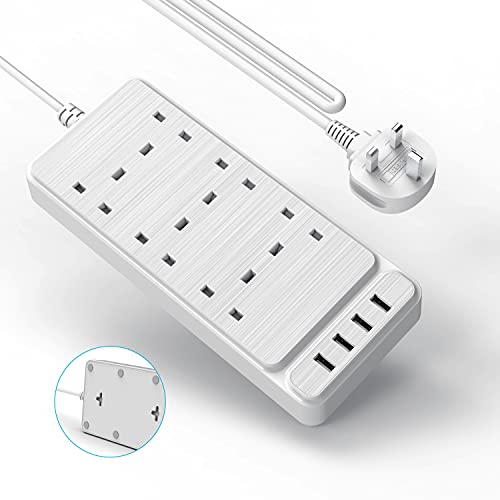 Verlängerungskabel mit 4 USB-Steckplätzen, Hitrends Steckdosenleiste mit 6-Wege-Steckdosen (2500 W/10 A) Überspannungsschutz-Steckdose mit 2 Meter Verlängerungskabel für Home Office, Weiß