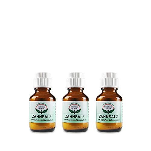 CHRISTIANE HINSCH Zahnsalz (3x50g) vegane, naturkosmetische Zahnpflege gegen Zahnstein und Karies, milder Abrieb mit Madrell Salz (remineralisierend), stärkt den Zahnschmelz, mit Phoasphat