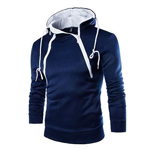 weimilon Men's Hoodie Fashion Sweat Jacket Pullover W Stylish Sweatshirt Hoodie Unique 204 Tops Men Fashion (Color : Blau, One Size : XL)