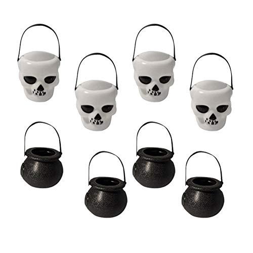 WSJKHY 8 stuks Halloween Festival Candy Basket heks emmer witte schedel vaten (4 stuks schedel vaten + 4 stuks Assistent Black Jar)