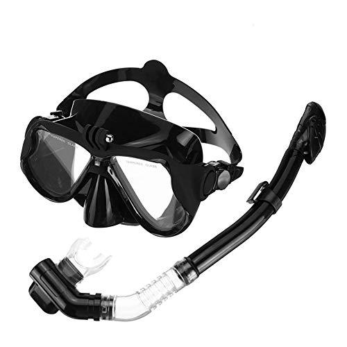 ZHANGXJ Seguro Easybreath Profesional Gafas de Bucear Gafas de Natación Adultos Tubo Respirador Máscara de Buceo Máscara Snorkel Anti-Niebla Anti-Fugas Antideslizante (Color : Black)