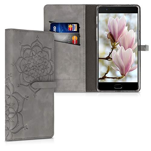 kwmobile Hülle kompatibel mit OnePlus 3 / 3T - Kunstleder Wallet Hülle mit Kartenfächern Stand Blumen Zwillinge Grau