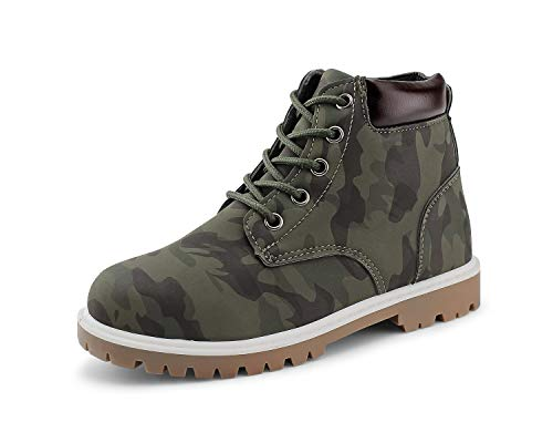 JABASIC Kids Lace Up Work Boots Boys Casual Ankle Boots Waterproof Snow Boots (2,Camouflage Green)