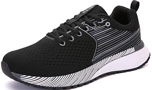 UBFEN Mens Womens Sports Running Shoes Jogging Walking Fitness Athletic Trainers Fashion Sneakers 10.5 Women/8.5 Men E Black White