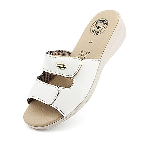 Jomix Ciabatte Donna Casa Estive Anatomiche Comode Comfort Pantofole Punta Aperta Made in Italy ITD1519 (03 Bianco, 36)