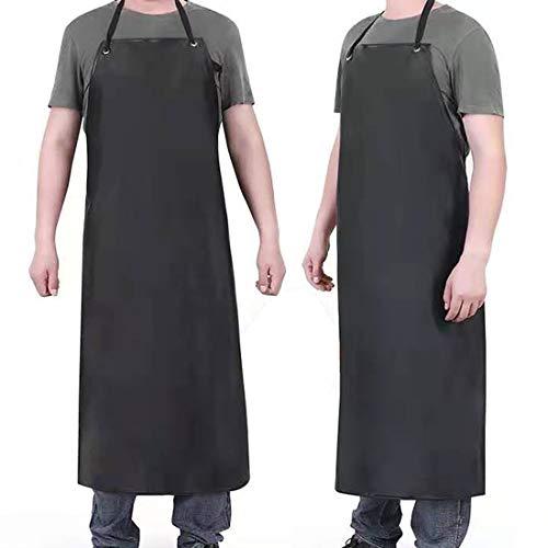 Chemical Resistant Work Cloth - Adjustable Bib Butcher Apron Waterproof Rubber Vinyl Apron Blacks - 43' Light Duty- Stay Dry When Dishwashing, Lab Work, Butcher, Cleaning Fish (Black-1Pack)