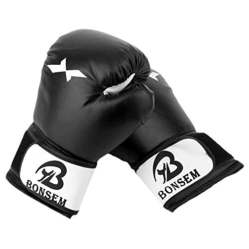 Guantes de Entrenamiento de Boxeo Unisex para Adultos para Saco de Boxeo Kickboxing Muay Thai,Black