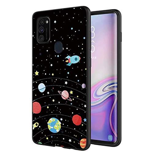ZhuoFan Funda Samsung Galaxy M30S / M21, Cárcasa Silicona Ultrafina Negra con Dibujos Diseño Suave TPU Antigolpes de Protector Piel Case Cover Fundas para Movil Samsung Galaxy M30s, Cielo de estrellas