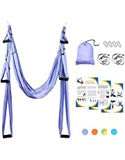 Leogreen Yoga Swing, Anti-Gravity Yoga Sling Hammock for Aerial Yoga Inversion Tool with 2 Daisy Chain, Light Purple