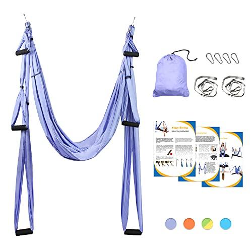 Sotech Aerial Yoga Schaukel Yoga Hängematte Set mit Tragetasche und Verlängerungsgurten, Trapez Sling für Home Gym Anti-Schwerkraft...