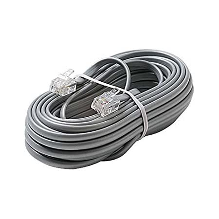 One Gray Silver 14 Foot Phone Station Line Cord 2 Pair 4 Conductor Two Pair