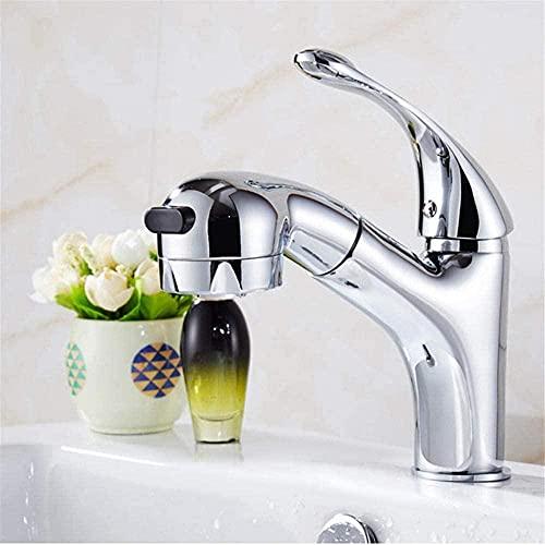 Baño de una manija Grifo de agua fría y caliente Lavabo extraíble Champú Grifo de lavabo de cobre extraíble