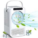 Personal Air Cooler, Evaporative Air Cooler, Portable Air Conditioner with LCD Display. 600ML Desktop Air Conditioning Fan with 3 Speeds. Small Space Humidifier Misting Fan for Room Home Office Dorm