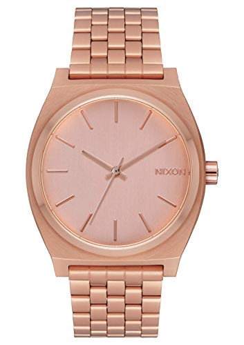Nixon Time Teller Unisexuhr Analog Quarz mit Edelstahl Armband All Rose Gold