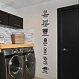 xiadayu Pegatinas de pared para cuarto de lavandería ofrecen lavado en seco plegable hierro vinilo baño arte pegatinas pared impermeable mural tienda 20x136cm