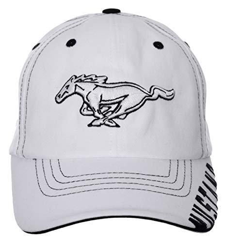Herren Ford Mustang Cap mit Karomuster, weißes Logo, Klettverschluss.