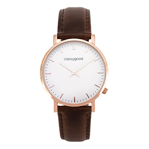 """classygood. """"Classic"""" Damen/Herren Uhr Analog Quarzuhrwerk mit Leder Armband braun roségold Zifferblatt weiß (40mm)"""