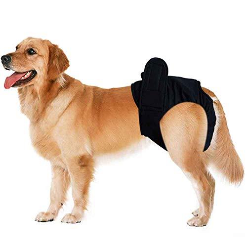 Smniao Hundewindeln für Hündinnen und Rüden Hygieneunterhose Groß Haustier Weibliche Windel Schutzhose Unterwäsche Hunde Bauchgürtel (XXL, Schwarz)