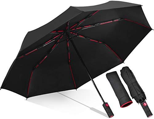 WINOK by Amazon - Auto Regenschirm Sturmfest mit UV Schutz, Taschenschirm Windproof Auf-Zu Automatik 210T Nylon Umbrella Wasserabweisend Teflon-Beschichtung UV Klein Leicht Kompakt Reise Golfschirm