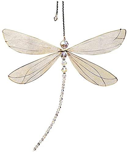 Kfmysm Colgante de libélula, exquisitas alas de metal para ventanas, colgante de atrapasoles