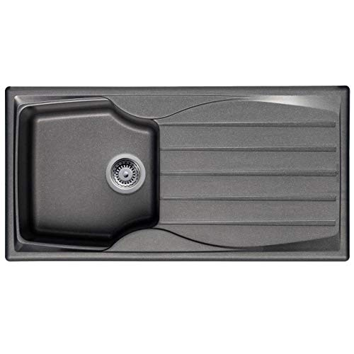 Astracast Sierra 1.0 Bowl Reversible Composite Graphite Grey Kitchen Sink and Basket Strainer Waste Kit
