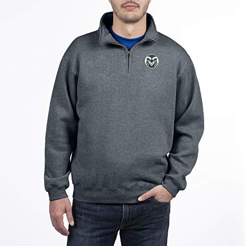 Top of the World Colorado State Rams Men's Dark Heather Classic Quarter Zip Pullover, Large