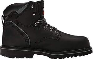 "Timberland PRO mens 6"" Pit Boss Steel Toe Snow Shoe, Black Oiled Full-grain Leather, 10.5 US"