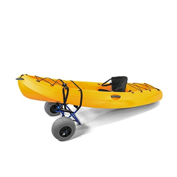 """Challenger outdoors kayak cart carrier dolly with large balloon tires heavy duty blue frame, pump and strap 8 detachable large low pressure 12"""" balloon tires what is included: manual heavy duty air pump & 12-ft cam buckle tie down strap carry your kayak, canoe and more, from your vehicle across the sand, loose gravel and mud"""