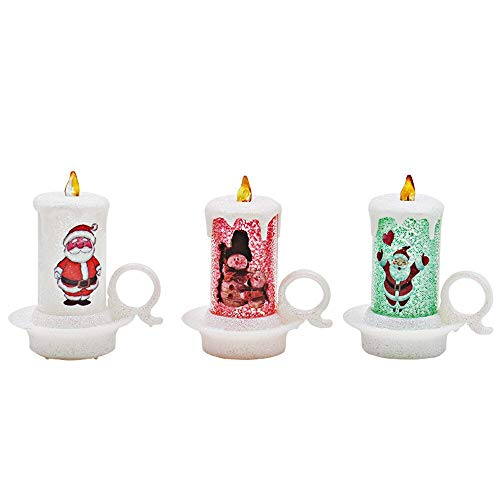 Velas LED Luz de Té 12 unids decoración de Navidad Led tea vela luz Santa Claus dibujos animados sin llama velas luces home decoración fiesta adornos