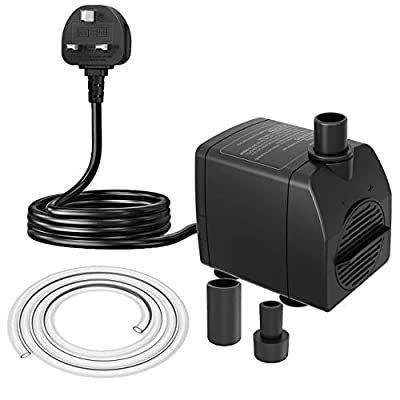 Knifel Submersible Pump 750L/H 15W Ultra Quiet with Dry Burning Protection 1.6m High Lift for Fountains, Hydroponics, Ponds, Aquariums & More……