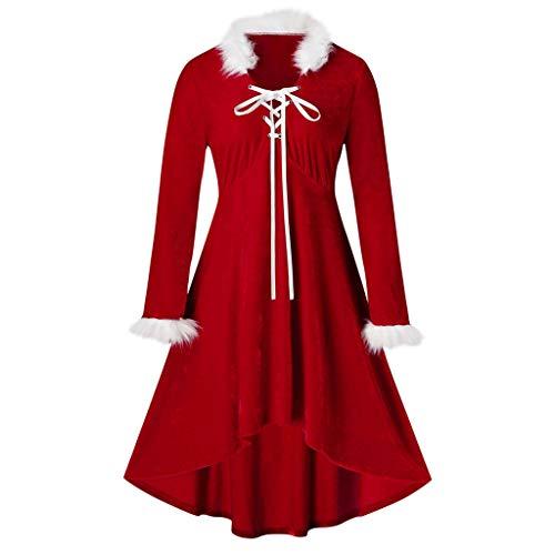 Bumplebee Weihnachtskleid Damen Rot Verband Plüsch Festlich Swing Kleid Ballkleid UnregelmäßIger Große größen Weihnachten Langarm Party Kleid Abend Prom Kostüm