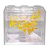 Acuario Tanque de Peces Decorativo Mini Acuario USB LED Lámpara de Luz Tanque de Pescado Lámpara de Escritorio Tanque de Pescado para Caja de Oficina Mesa de Té Decoración(Blanco)