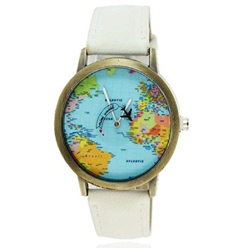 Moda mujeres hombres vintage tierra mundo mapa Reloj Denim Tela Mu?eca relojes blanco