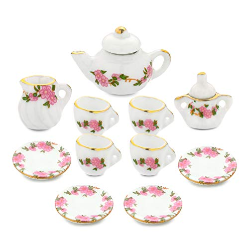 Dollhouse Accessories, 1/6 1/12 Miniature, 11pcs Dining Ware Porcelain Tea Cup Set with Golden Trim Floral Pattern Home Decoration Kitchen Chic Style Kit