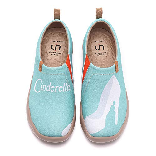 UIN Women's Lightweight Slip Ons Sneakers Walking Flats Casual Art Painted Travel Shoes Cinderella (42)
